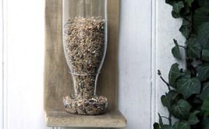 comedero para aves reciclando dos botellas