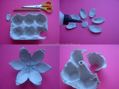 Para rematar la flor, la parte interna la pegamos con la parte externa ...