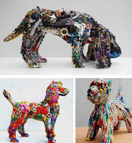 Esculturas de material reciclado rec clame for Art from recycled materials ideas